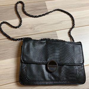 Kirna Zabete Black Adjustable Strap Reptile Bag